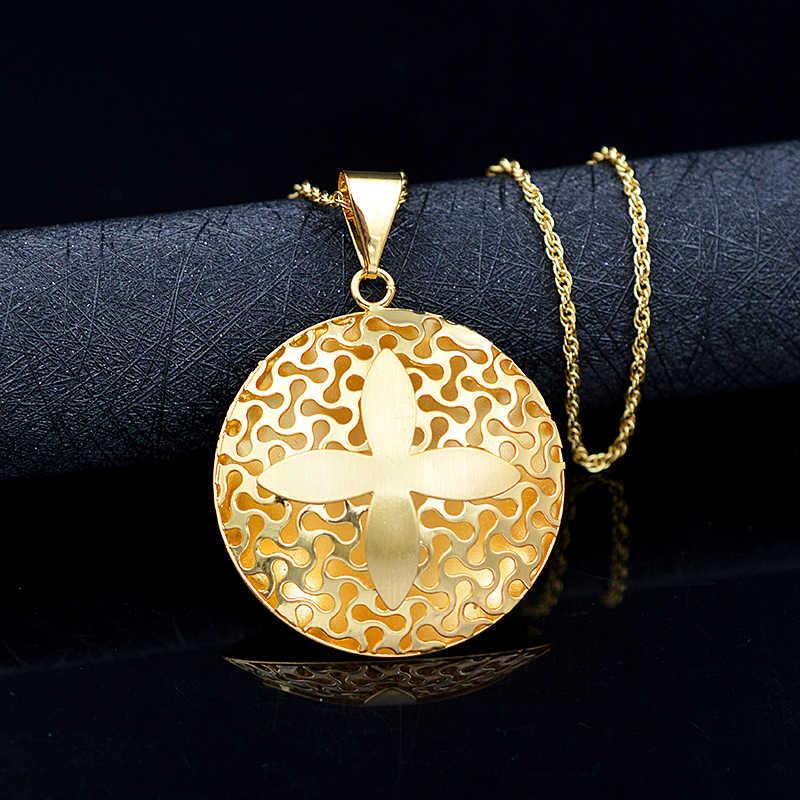 Bijoux ensoleillés Vintage croix ensembles de bijoux pour femmes collier boucles d'oreilles pendentif Dubai ensembles de bijoux pour les résultats de bijoux de fiançailles