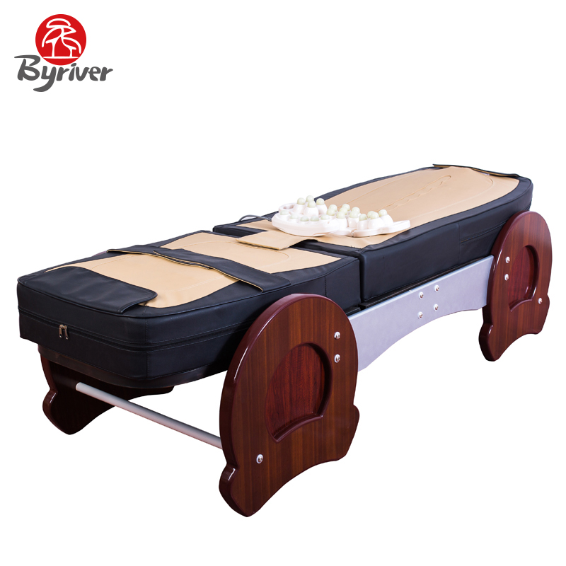 byriver factory direct sale 7 roller wood frame healthcare jade stone thermal massage bed table massager - Massage Tables For Sale