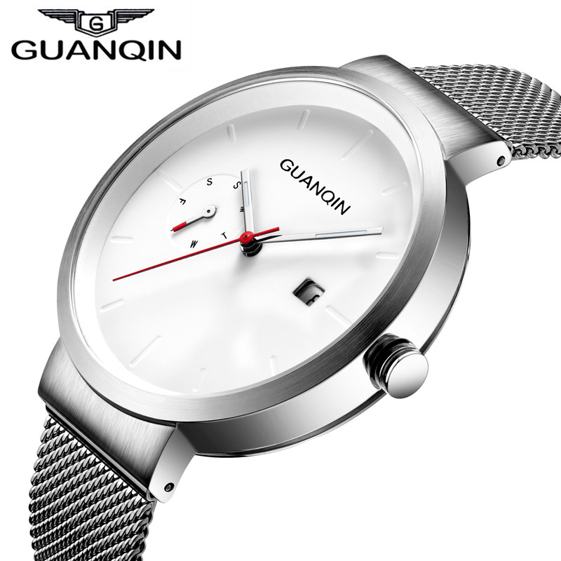GUANQIN Mens Watches Top Brand Luxury Quartz Watches Men Fashion Business Male Clock Date Display Full Steel Watch Montre Homme new winter women children girl knitted mink fur hat striped words with fox ball mink weave hats caps headgear skullies beanies