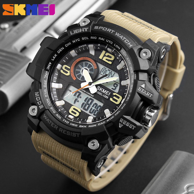 SKMEI 1283 Mens Wristwatch Quartz Sport Watches Men Luxury Brand Digital Wrist Watch Men Waterproof Male Clock Relogio Masculino skmei mens watches top brand luxury led digital wrist watch men waterproof fashion military outdoor sport clock men s wristwatch