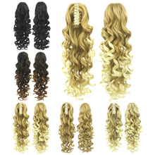 Long Blonde Curly Clip In Hair Extensions Pieces Pony Tail Synthetic Hair