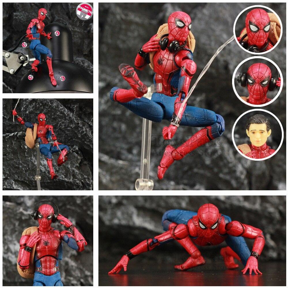 """Marvel Spider Man Tom Holland 6 """"Figure d'action retour Ver Spiderman légendes loin de la maison KO's Mafex 047 Medicom jouets poupée"""