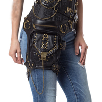 Black PU Leather Rivet Chain Rock Retro Steampunk Thigh Holster Bag Crossbody Waist Leg Shoulder Bags