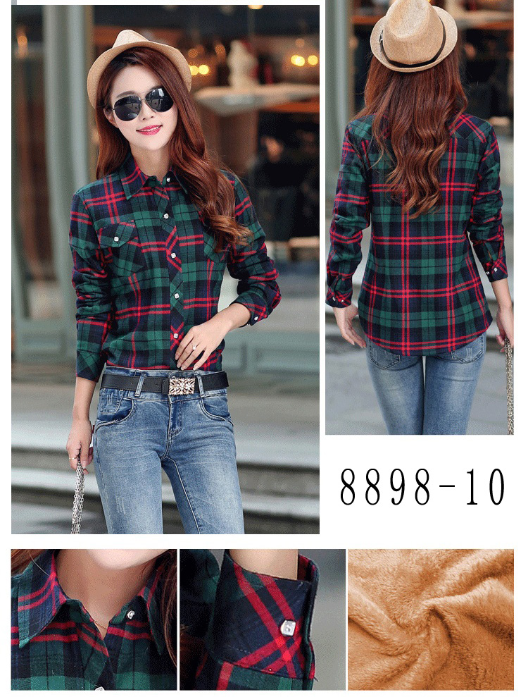 HTB1Ft4dRVXXXXXrapXXq6xXFXXXS - Velvet Thick Warm Women's Plaid Shirt Female Long Sleeve