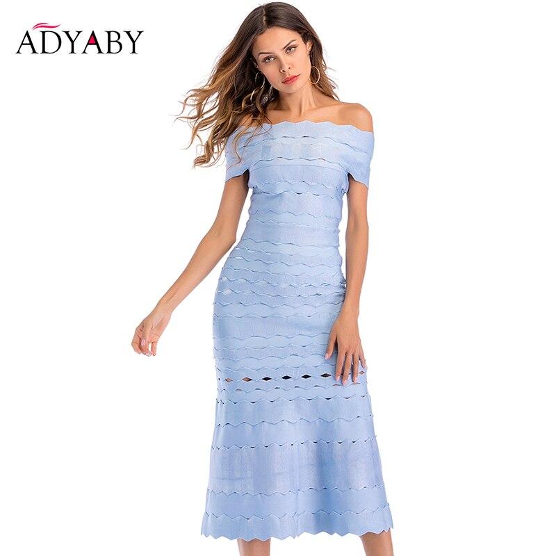 Eleganckie sukienki damskie lato 2019 nowe mody Celebrity klub długa sukienka na imprezę niebieski Hollow Out off shoulder bandażowy sukienka kobiety w Suknie od Odzież damska na  Grupa 1