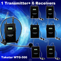 1pcs Transmitter+Receiver 6pcs Original Takstar WTG-500 UHF PLL Wireless Microphone tour guide system voice teaching