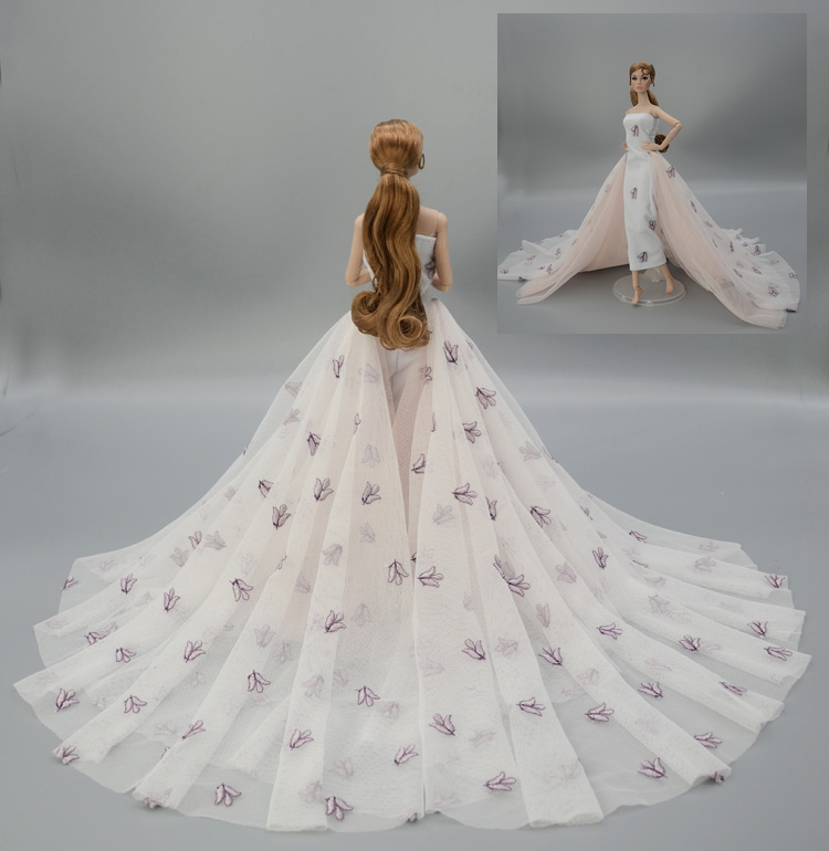 Gorgeous Long Tail Chiffon Wedding Dress Party Gown Outfit Clothing For 1/6 BJD Xinyi FR ST Barbie Doll / barbie dress