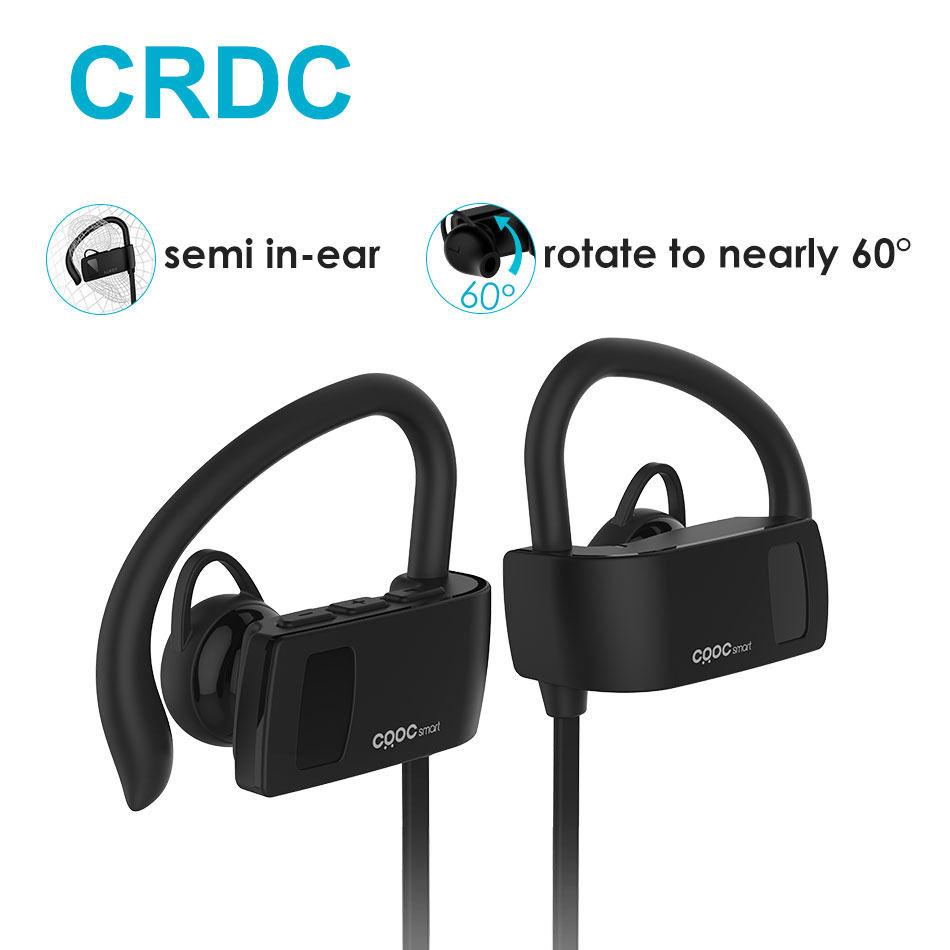Bluetooth Earphone ,CRDC Sport Running Ear Hook Wireless Headphones Stereo Earbuds Bass Headset with Mic for iPhone Xiaomi Etc