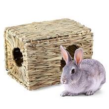 Хит! из тканой травы соломы маленький питомец Кролик Хомяк клетка-Гнездо Дом жевательная игрушка складная кровать
