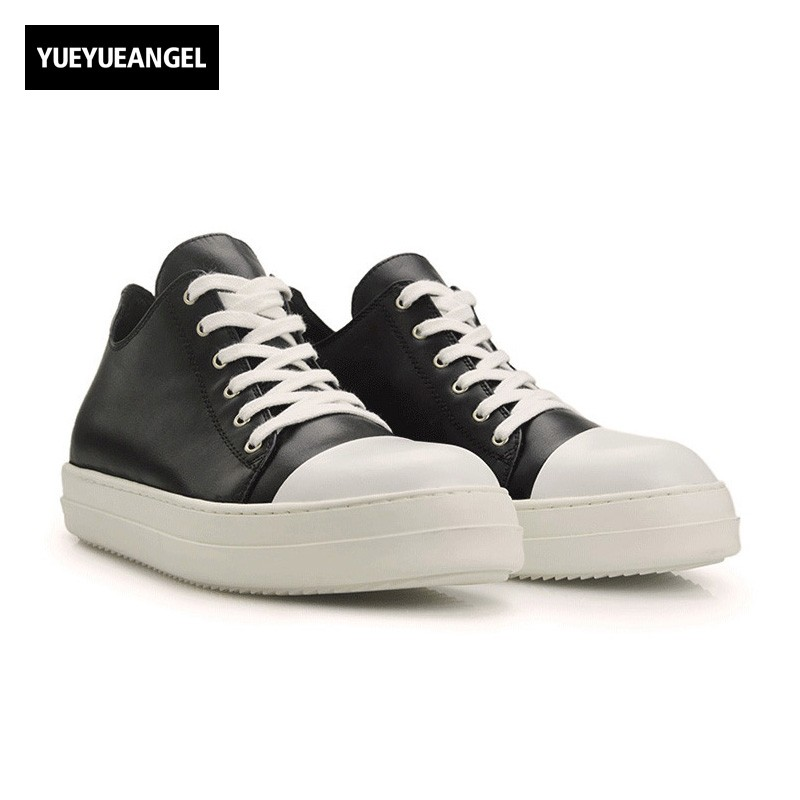 2018 Match Color Mens Casual Shoes Lace Up Round Toe Black White Genuine Leather Male Footwear British Roman Hot Sale Fashion vik max white genuine leather hot sale figure skate shoes lace up ice figure skate shoes