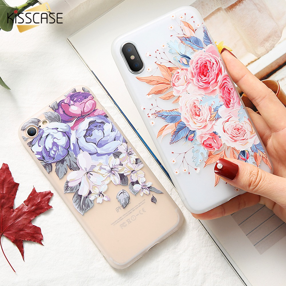 KISSCASE 3D Relief Flowers Case For iPhone 5 5S Se Soft Silicone Blossoming Flowers Case For iPhone 6 6S 7 8 Plus Cover For X 10