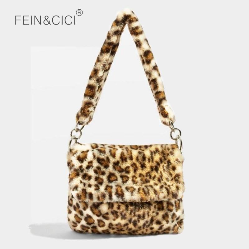 Clutch Crossbody-Bags Fur-Bag Animal-Print Large-Capacity Winter Women Ladies Famous-Brand