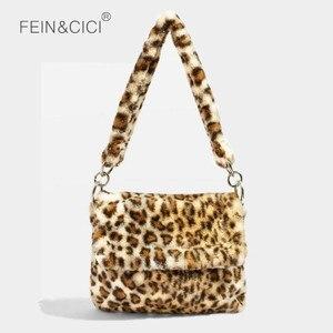 Image 1 - Fur Bag animal print leopard bag women ladies winter warm crossbody bags famous Brand Large Capacity shoudler 2018 new