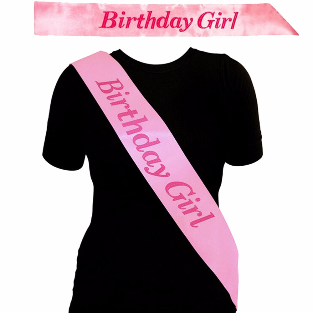 New Pink Birthday Girl Sash In Decoration Girls Night Souvenir Ribbons Event Party Supplies
