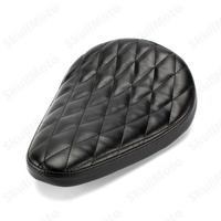 Motorcycle Seat Black Diamond Leather Saddle Driver Solo Seat for Harley Sportster Chopper Bobber Custom SX CB 650 Universal