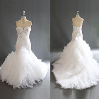 Real Photos Luxury Beaded Mermaid Wedding Dresses Gorgeous Ruffles Organza Sweetheart Sheer Chic Bridal Dress Vestido