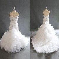 Real Photos Luxury Beaded Mermaid Wedding Dresses Gorgeous Ruffles Organza Sweetheart Sheer Chic Bridal Dress Vestido De Noiva