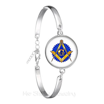 Free-mason Logo Chain Bracelet Silver Plated Bangle For Women And Men Mocked The Birds Jewelry For Justice And Freedom image