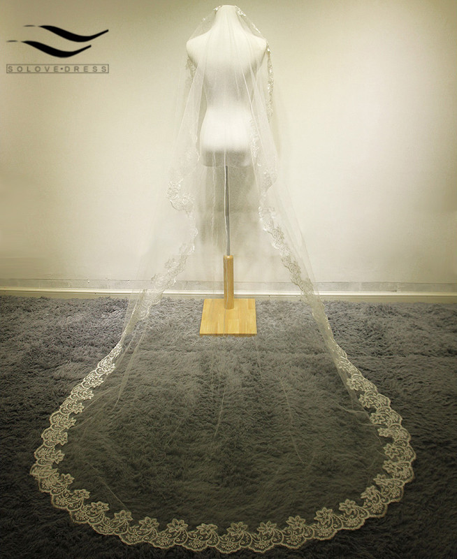 Bridal Veils 2 Meters One Layer Veils Tulle Appliques Lace White Ivory Cathedral Wedding Veils with Comb Bridal Veils
