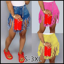 Womens Fashion Middle Waist New Tassel Design Blue Shorts Jeans Hot sexy Denim Women Sexy S-3XL