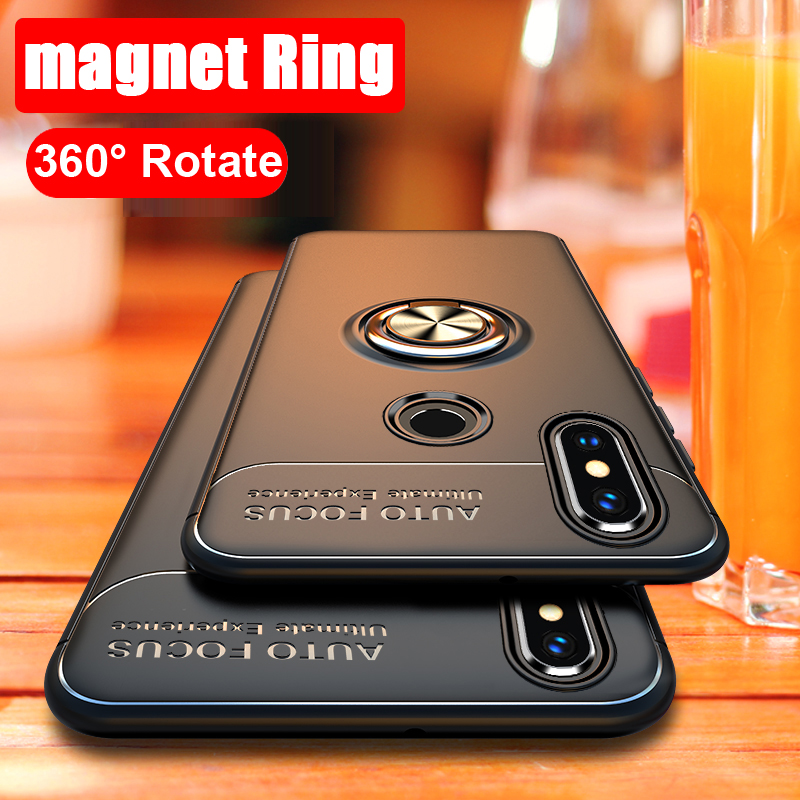 360 Rotating metal Magnetic Silicone Case For huawei V20 honor 10 Lite 9 8 V10 7X 8X luxury Cover magnet holder TPU coque image