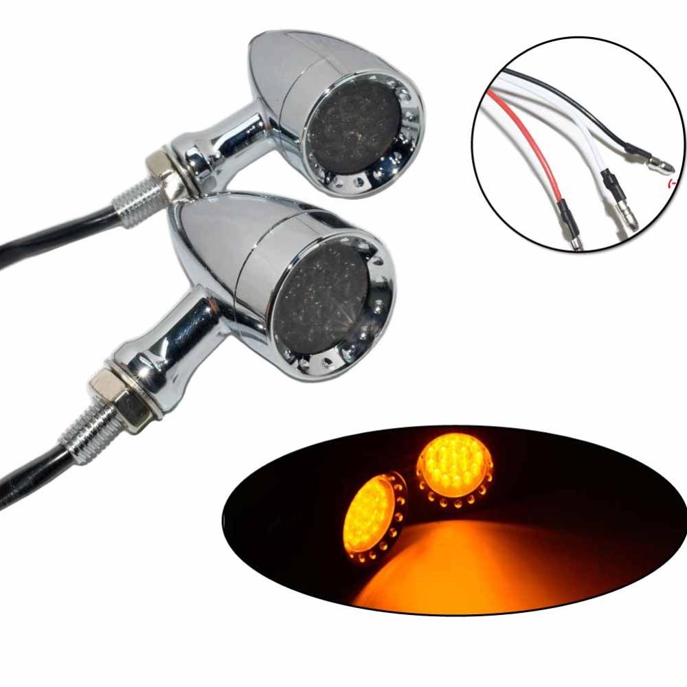 цены Motorcycle Chrome 20 LED Bullet Turn Signal Brake Light Flasher For Harley Chopper Bobber Custom XL Dyna Softail Chopper Bike