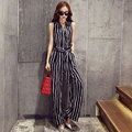 Sleeveless Stripe Jumpsuit Women Summer Jumpsuits 2017 New Fashion V-Neck Wide Leg Free Shipping