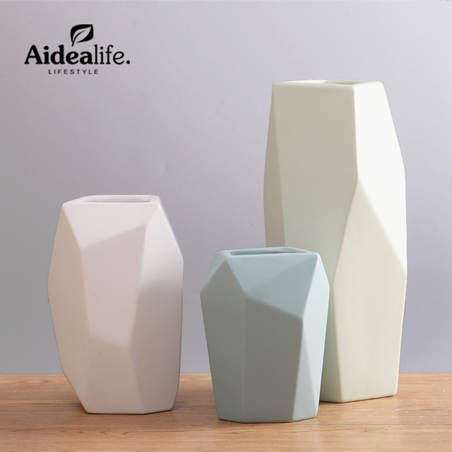 Chinese Blue And White Vases Abstract Ceramic Art Geometric Decor