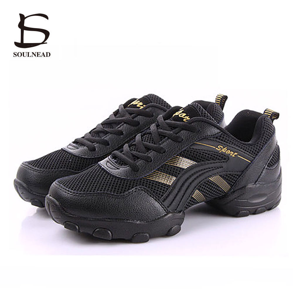 Men's Modern Jazz Dance Shoes Soft Rubber Sole Ballroom Hip Hop Dance Sneakers Black/White Men Practice Fitness Sports Shoes
