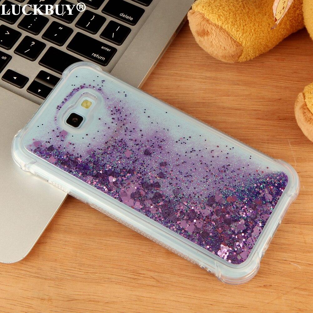 LUCKBUY Líquido Areia Glitter Estrela Casos Do Telefone Móvel Para Samsung Galaxy A3 A5 A7 2017 Versão Dinâmica Do Coração de Plástico de Volta Fundas