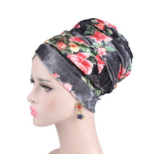 2018 Fashion: Ladies Floral Printed Velvet Turban. Long Headband Muslim Scarf. Head Wraps Hair Accessories.