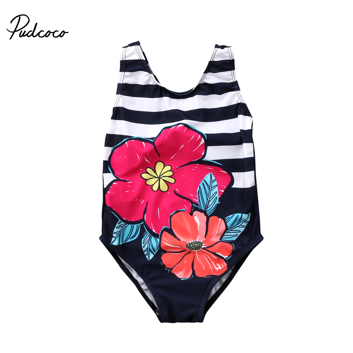 Summer Striped Swimwear Toddler Baby Girl Clothing Kid Swimwear Bikini Flower Swimsuit Infant Bathing Beachwear
