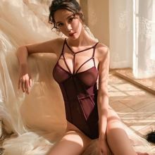 Yhotmeng sexy bottoming corset tight straps sexy lingerie temptation perspective bodysuit sleepwear woman sexy temptation cardigan perspective nylon spandex sexy lingerie blue