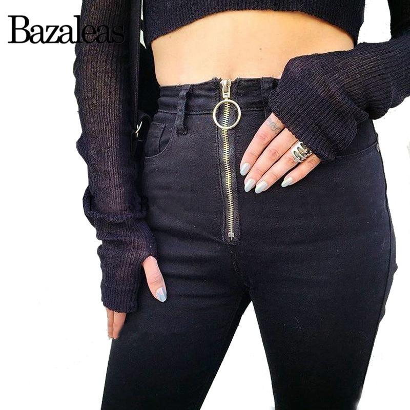 bazaleas 2017 women push up jean stretch circular ring high waist pants slim elastic trousers. Black Bedroom Furniture Sets. Home Design Ideas