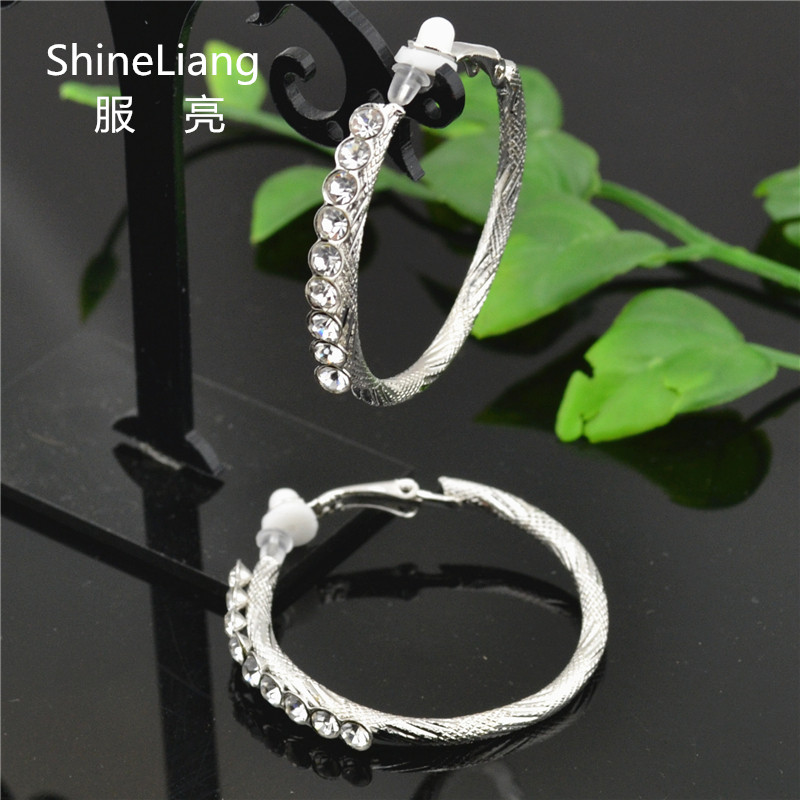 Shineliang Clip on the ear ring No ear hole Without piercing Rhinestone Earrings for women Fashion female gold silver jewelry