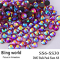 The CraftsOutlet DMC Hotfix Superior Quality Glass Round Siam AB Rhinestone Embellishment Size SS6 SS10 SS16 SS20 SS30