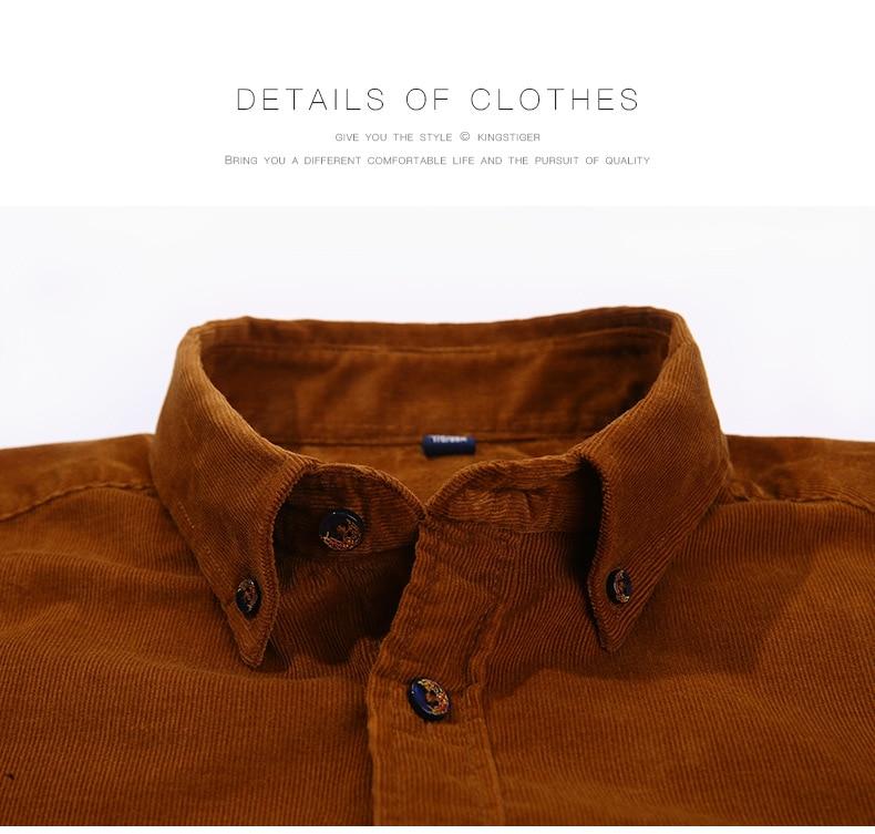 100% Cotton Vintage Corduroy Dress Shirt Men Slim Fit New Casual Shirts Mens Brand Long Sleeve Clothes Camisa Hombre TS-381 6