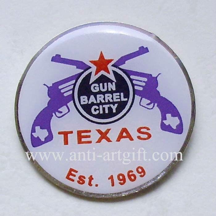 Круглый принт Техасский полиция шпильки высокого качества и смола пальто металлическая брошь