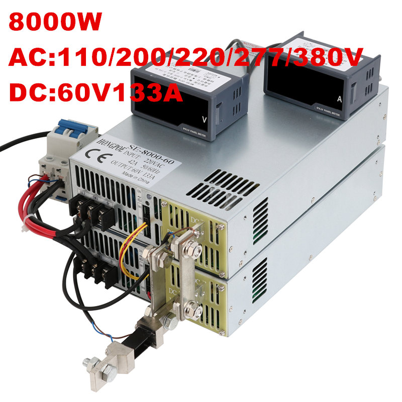 8000W 60V 133A 0-60V power supply 60V 133A AC-DC High-Power PSU 0-5V analog signal control DC60V 133A 110V 200V 220V 277VAC