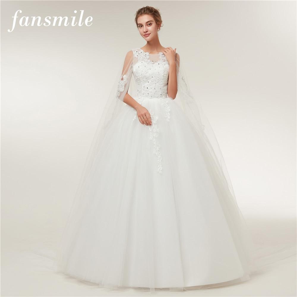 Fansmile Real Photo Cheap Vintage Lace Ball Wedding Dresses 2019 Vestido De Novia Customized Plus Size Bridal Gowns FSM-370F