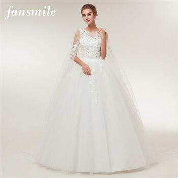 17ea156e0 Fansmile De lujo Vestido largo De encaje De Noiva Vestido De novia 2019  personalizado más vestidos De novia De tamaño FSM-482T