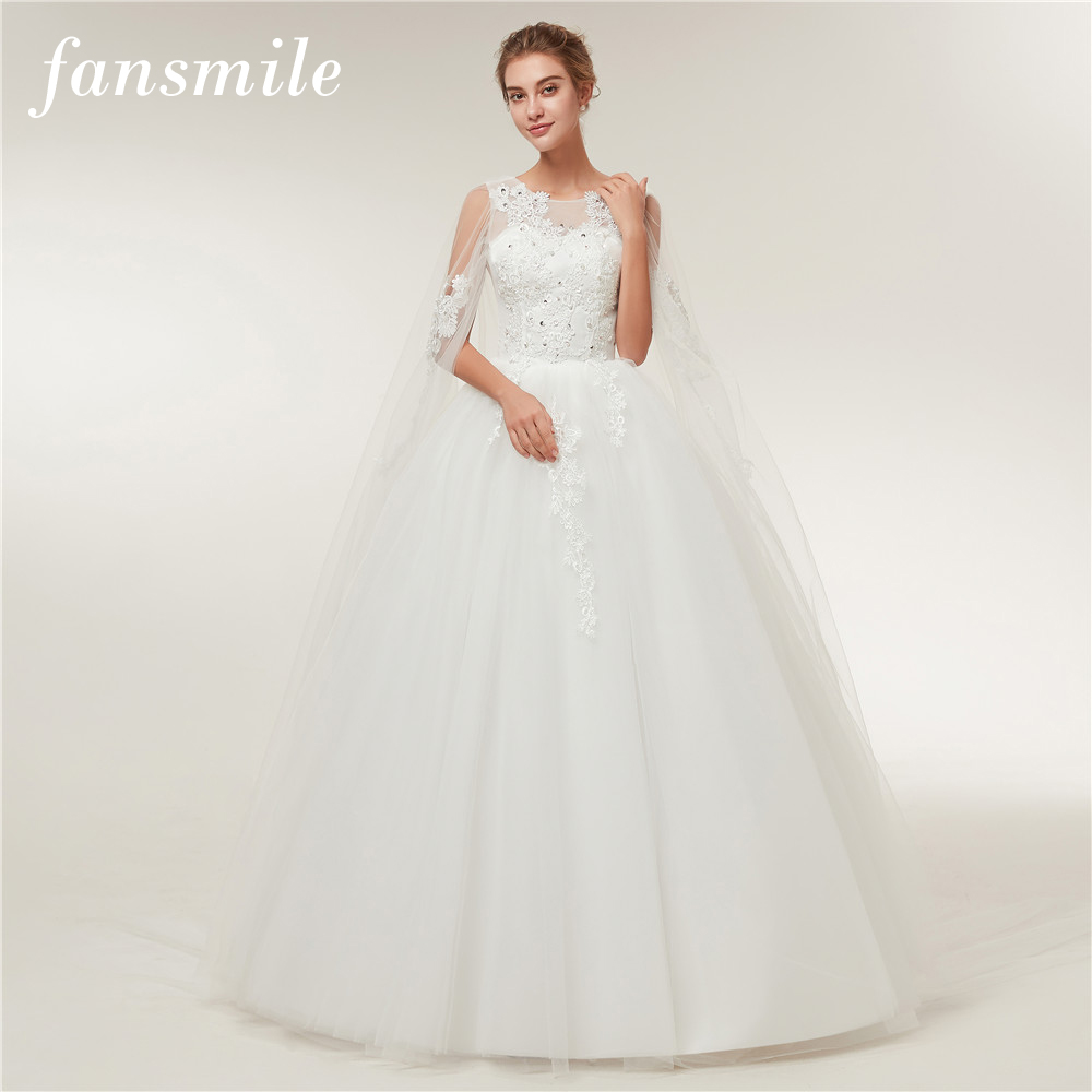 Fansmile Real Photo Cheap Vintage Lace Ball Wedding