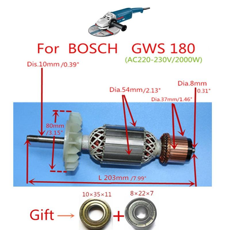 Rotor Armature Replacement for Bosch GWS20-180H GWS20-180 TWS2000 GWS20-230 GWS2000 GWS18-230 GWS18-180 GWS18U Angle Grinder ушм bosch gws 20 230 h