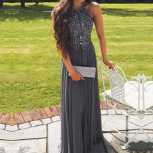 hot deal buy berylove long grey chiffon evening dresses 2018 beaded backless prom dresses cheap prom gowns women formal evening dresses