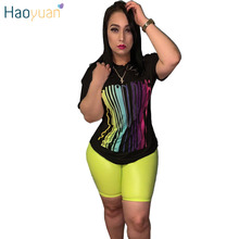 ZOOEFFBB Plus Size Tracksuit Women Two Piece Outfits Top and Neon Biker Shorts Sweat Suits 2 Piece Matching Sets Summer Clothes