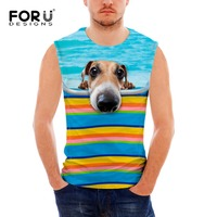 FORUDESIGNS 2017 Men Boy Body Compression Base Layer Sleeveless Summer Vest Dog 3D Men Thermal Under
