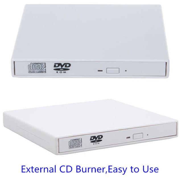 CD-RW DVD ROM Combo Burner USB 2.0 Externo Portátil Para Computador pc, Windows7/8 (Branco)
