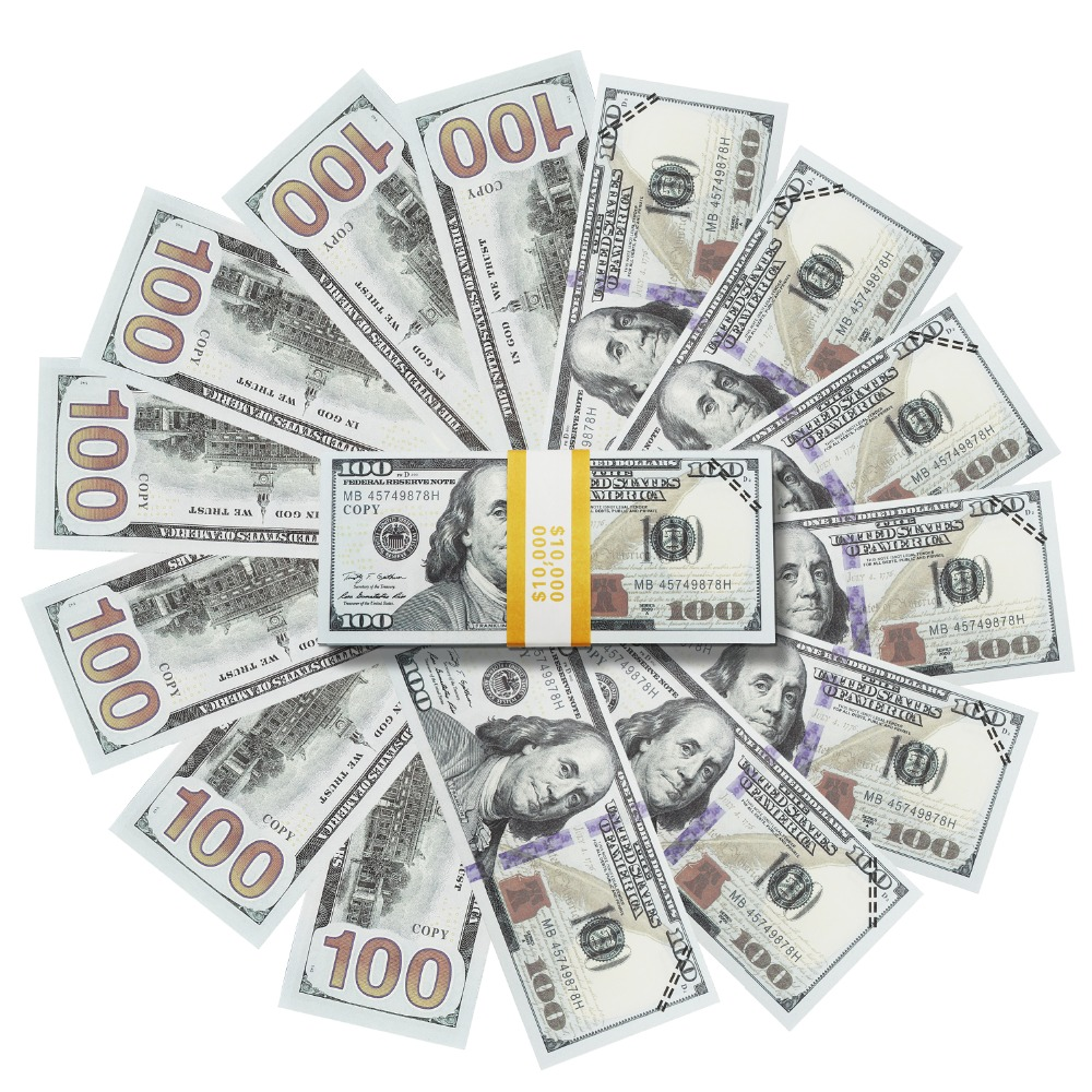 US $10 49 25% OFF|Prop Money that Looks Real,Movie fake Money Full Print 2  Sided $100 Dollar Bills Stack,Play Money Copy Money $10000,New Publishe-in