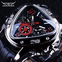 Jaragar Sport Racing Design Geometric Triangle Design Genuine Leather Strap Mens Watches