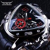 Jaragar Sport Racing Ontwerp Geometrische Driehoek Pilot Echt Leer Mannen Mechanische Horloge Top Brand Luxe Automatische Polshorloge